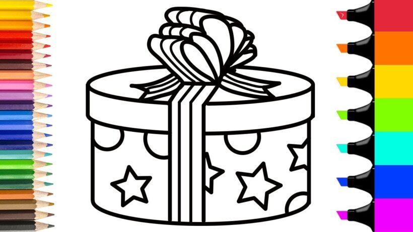 Tranh tô màu hộp quà hình tròn