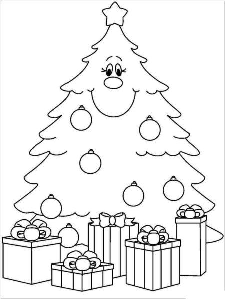 Tranh tô màu hộp quà và những cây thông Noel