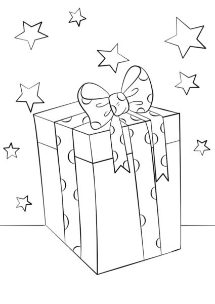 Tranh tô màu hộp quà và những hình sao đẹp