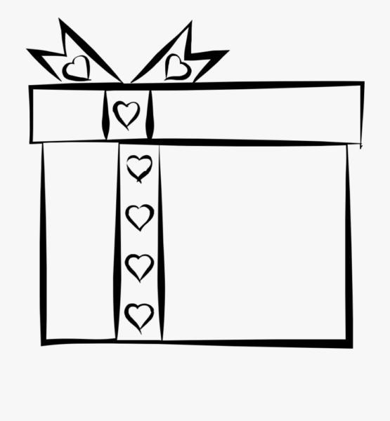 Tranh tô màu hộp quà với chiếc nơ được buộc lệch