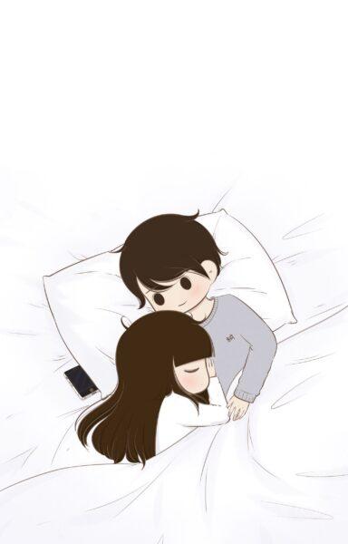 tranh vẽ chibi hình ảnh tình yêu dễ thương