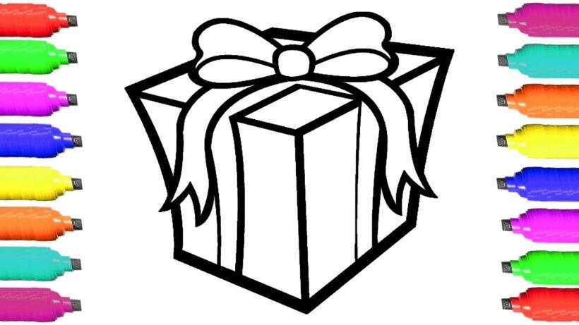 Tranh vẽ chưa tô màu hộp quà cho bé tập tô
