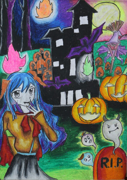 tranh vẽ đề tài Halloween đáng sợ