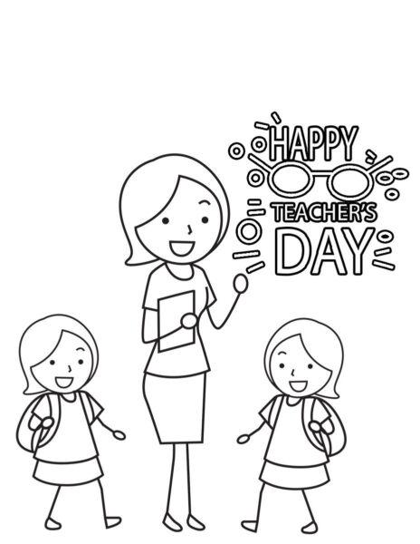 tranh vẽ hình ảnh cô giáo và học sinh