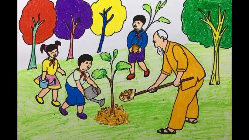 vẽ tranh bác hồ trồng cây cùng các em học sinh