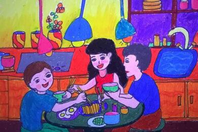 vẽ tranh đề tài về mẹ