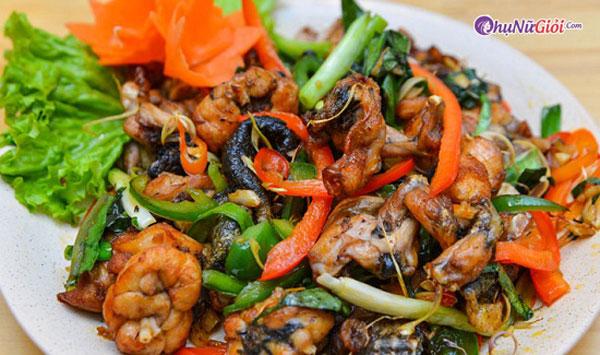 Cách nấu ếch xào sả ớt cari