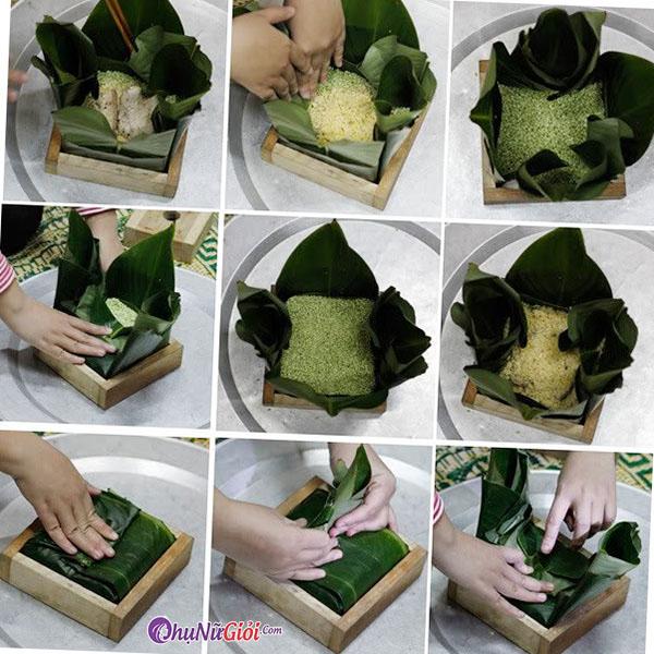 Cho gạo vào để gói bánh chưng