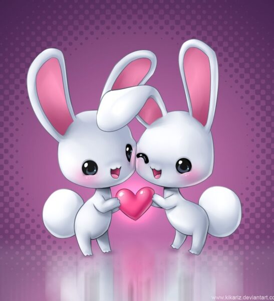 hình ảnh tình yêu dễ thương giữa hai chú thỏ