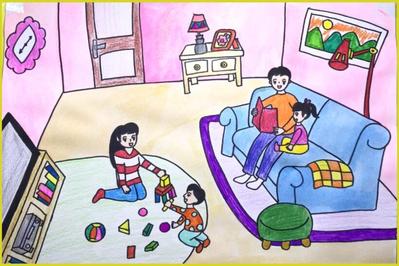 hình vẽ tranh vẽ về đề tài gia đình hạnh phúc