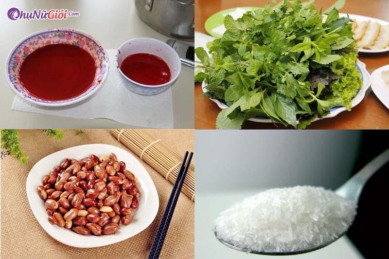 nguyên liệu để hãm tiết canh vịt bằng mỳ chính