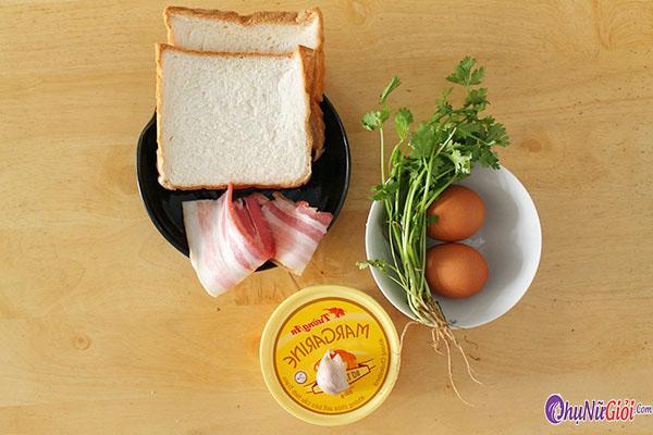 Nguyên liệu để làm bánh mì chiên bơ tỏi, trứng gà