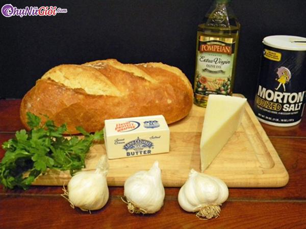 nguyên liệu làm bánh mì nướng muối ớt bơ tỏi