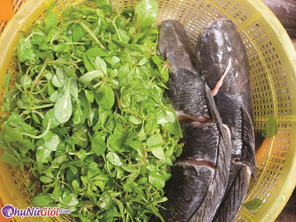 nguyên liệu nấu bánh canh cá lóc rau đắng