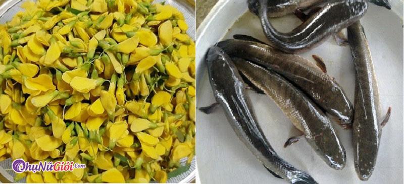 nguyên liệu nấu canh cá lóc hoa điên điển