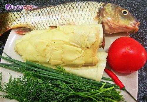 nguyên liệu nấu lẩu cá chép măng chua