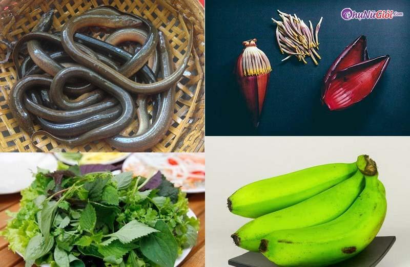 nguyên liệu nấu lươn om hoa chuối biến tấu