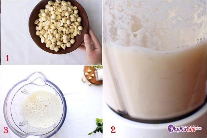Sơ chế làm sữa tươi hạt sen