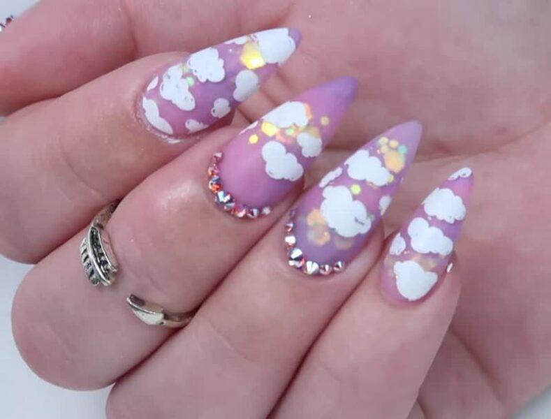 Các mẫu nail đám mây màu tím (3)