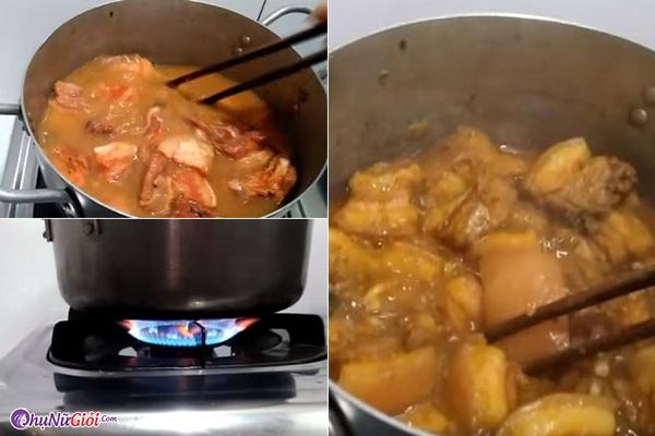 cách nấu thịt hộp với nước cốt dừa