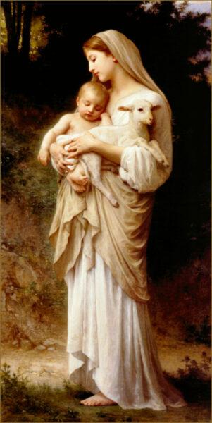 Hình ảnh đức mẹ Maria ôm thiên chúa và con cừu