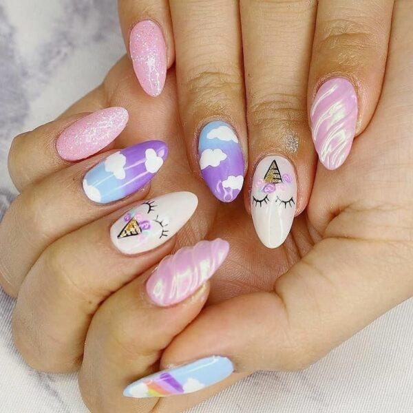Mẫu nail đám mây cute dễ thương (8)