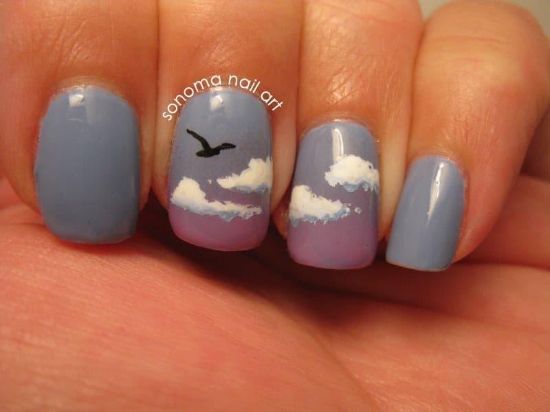 Mẫu nail đám mây xám đẹp (6)