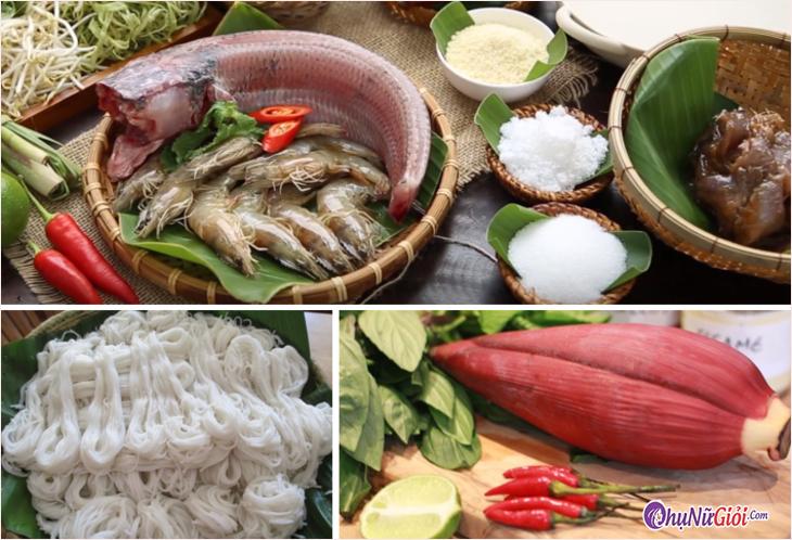 Nguyên liệu nấu bún nước lèo kiểu Trà Vinh