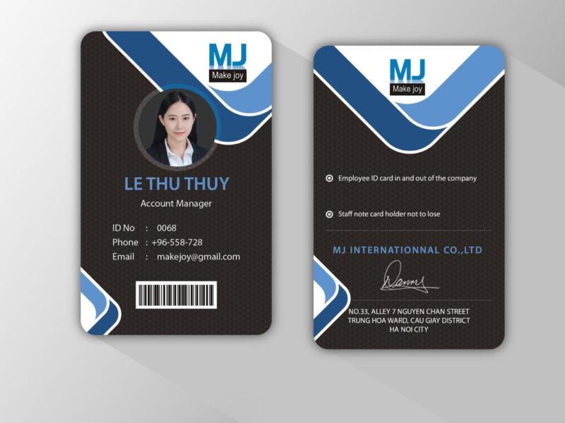 Mẫu thẻ nhân viên 2 mặt đẹp