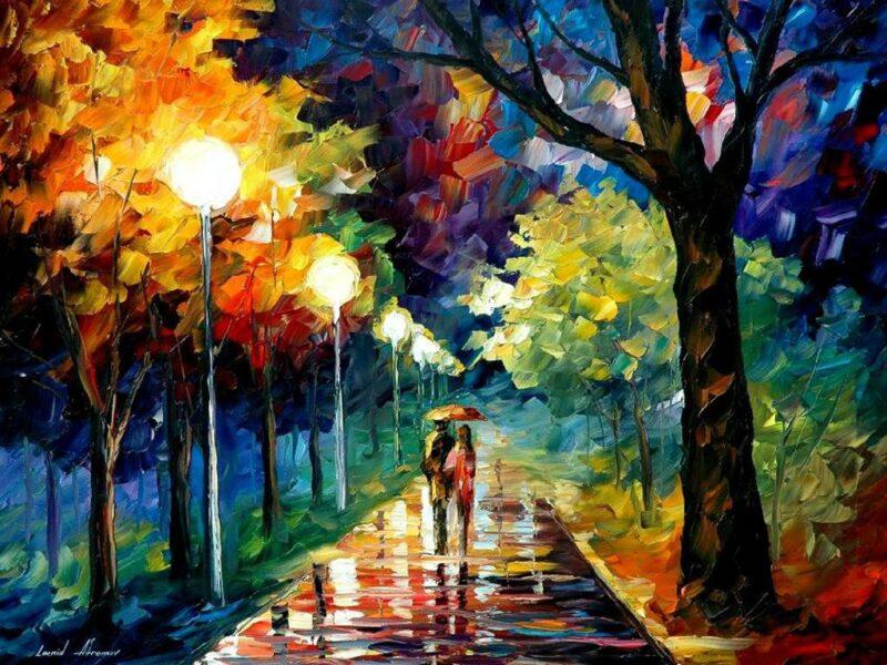 Bức tranh đẹp nổi tiếng thế giới về cặp đôi đi trên con đường đêm mưa