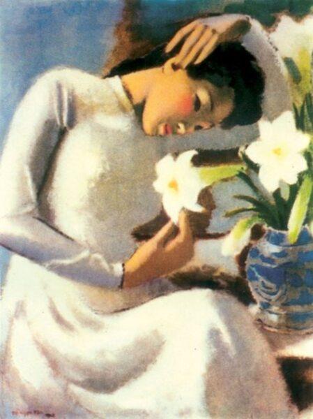 Bức tranh thiếu nữ bên hoa Huệ của Tô Ngọc Vân Việt Nam