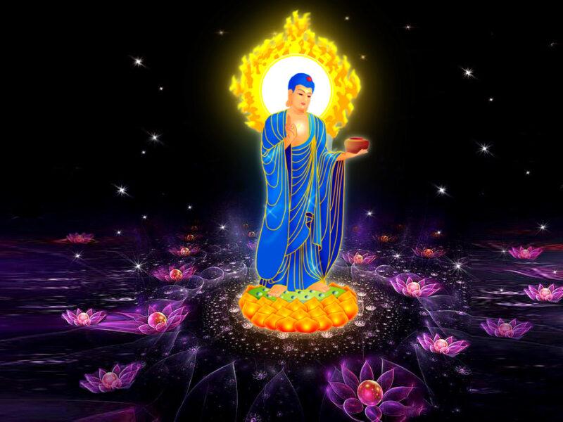 Hình ảnh Phật A Di Đà tay cầm bát đồng