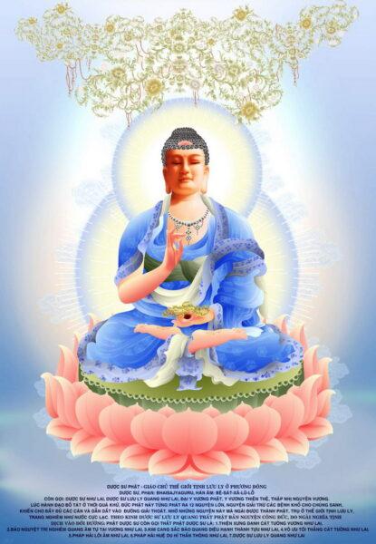 Hình ảnh Phật Dược Sư với bộ quần áo màu xanh