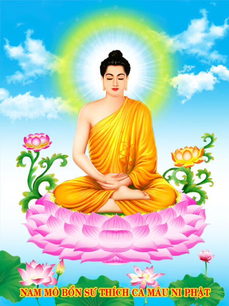 Hình ảnh Phật Thích Ca Mâu Ni và những bông Sen