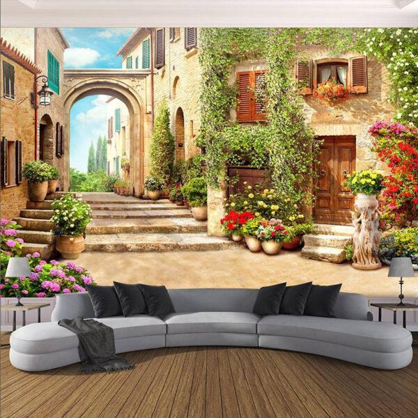 Tranh tường 3D đẹp phong cảnh khu phố cổ