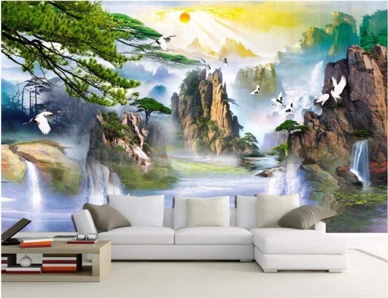 Tranh tường 3D đẹp, phong cảnh sơn thuỷ hữu tình
