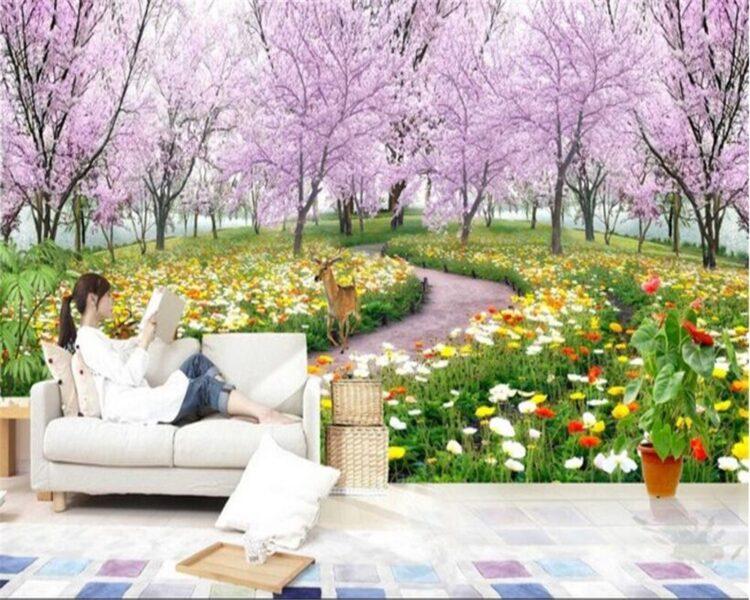 Tranh tường 3D đẹp phong cảnh vườn hoa