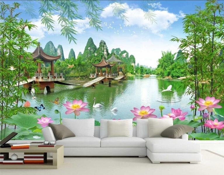 Tranh tường 3D phong cảnh đẹp treo phòng khách