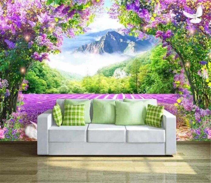 Tranh tường 3D tuyệt đẹp cho phòng khách