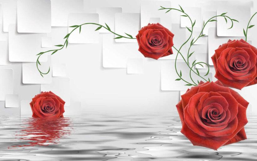 Tranh vẽ hoa Hồng 3D tuyệt đẹp