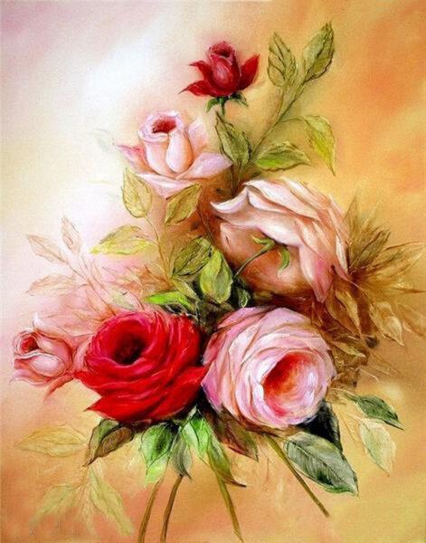Tranh vẽ hoa Hồng bằng sơn dầu tuyệt đẹp