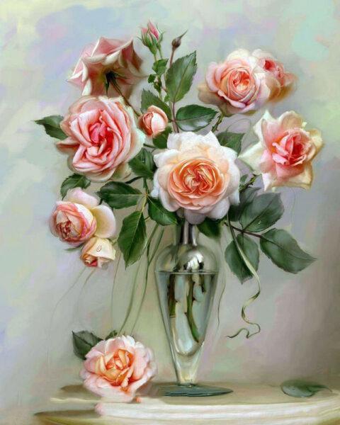 Tranh vẽ hoa Hồng nghệ thuật