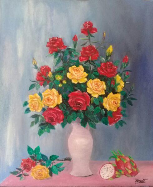 Tranh vẽ lọ hoa Hồng đẹp