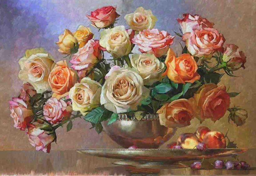 Tranh vẽ những bông hoa Hồng khoe sắc đẹp
