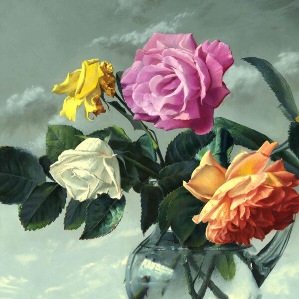 Tranh sơn dầu  lọ hoa hồng đẹp