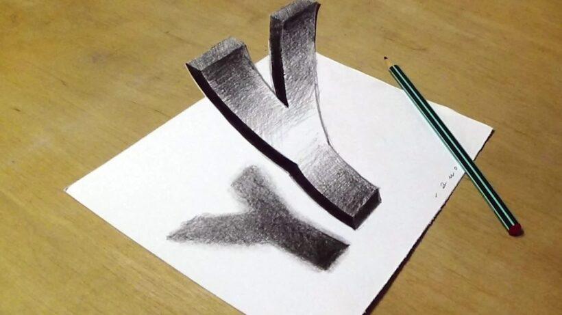 Vẽ tranh 3D hình chữ Y LƠ LỬNG