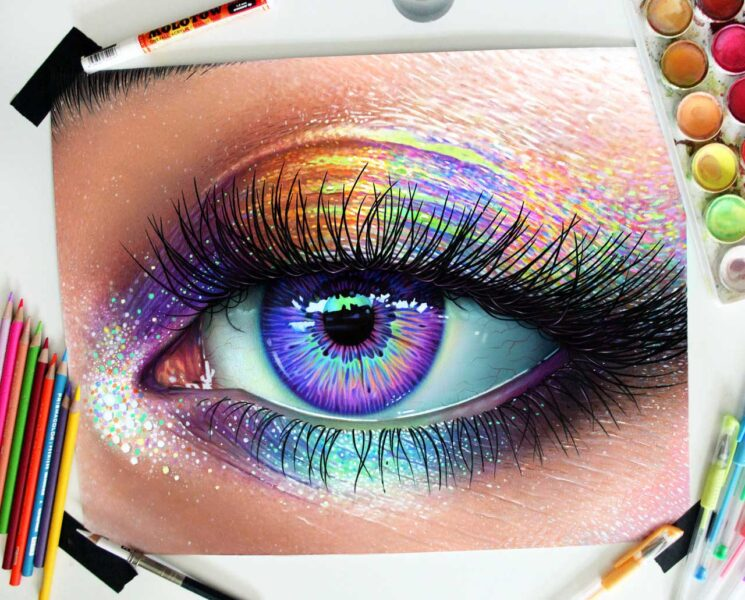 Vẽ tranh 3D hình con mắt chân thực y như thật