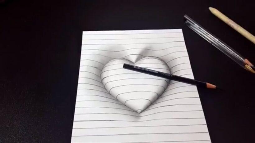 Vẽ tranh 3D hình trái tim nổi