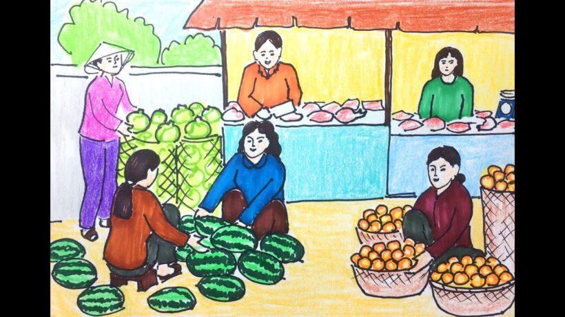 Vẽ tranh đề tài cuộc sống quanh em cảnh chợ