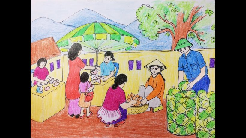 Vẽ tranh đề tài cuộc sống quanh em cảnh chợ quê